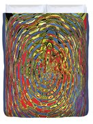 Building Of Circles And Waves Colored Yellow Red And Blue Duvet Cover