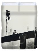 Building The Empire State Building Duvet Cover by LW Hine