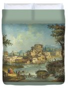 Buildings And Figures Near A River With Rapids Duvet Cover