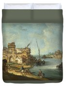 Buildings And Figures Near A River With Shipping Duvet Cover
