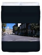 Buildings On Both Sides Of A Road Duvet Cover