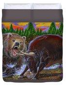 Bull And Bear Duvet Cover
