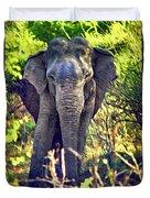 Bull Elephant Threat Duvet Cover