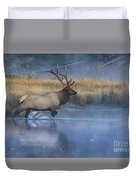 Bull Elk Crossing The Madison River Duvet Cover