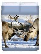 Bull Elk Fighting  Duvet Cover