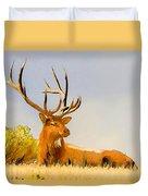 Bull Elk Resting In The Grass Duvet Cover