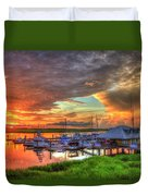 Bull River Marina Sunrise 2 Sunrise Art Duvet Cover