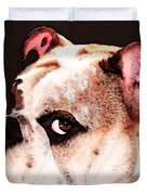 Bulldog Art - Let's Play Duvet Cover by Sharon Cummings