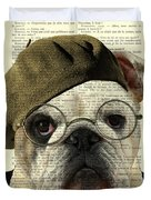 Bulldog Portrait, Animals In Clothes Duvet Cover