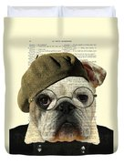 Bulldog Portrait, Animals In Clothes Duvet Cover