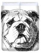 Bulldog-portrait-drawing Duvet Cover