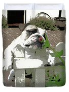 Bulldog Sniffing Flower At Garden Fence Duvet Cover
