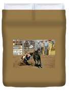Bulldogging At The Rodeo Duvet Cover