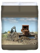 Bulldozer And Excavator On Road Construction Duvet Cover