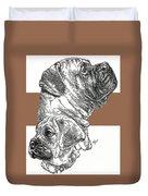 Bullmastiff And Pup Duvet Cover