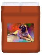 Bullmastiff Dog Painting Duvet Cover