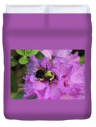 Bumble Bee On Rhododendron Blossoms Duvet Cover