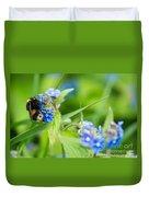 Bumble Bee On Siberian Bugloss Duvet Cover