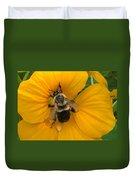 Bumble Bee On Yellow Nasturtium Duvet Cover