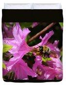 Bumblebee In Azalea Duvet Cover