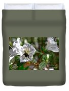 Bumblebee On White Azalea Duvet Cover