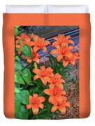 Bunch Of Orange Lilies Duvet Cover