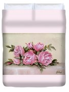 Bunch Of Pink Roses Painting Duvet Cover