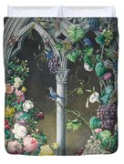 Bunches Of Roses Ipomoea And Grapevines Duvet Cover