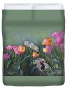 Bunnies In The Blooms Duvet Cover