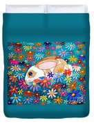 Bunny And Flowers Duvet Cover