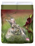 Bunny In The Lilies Duvet Cover