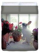 Bunny In Window Duvet Cover