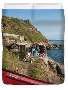Bunty In Priest's Cove Cape Cornwall Duvet Cover