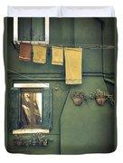 Burano - Green House Duvet Cover by Joana Kruse