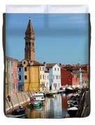Burano An Island Of Multi Colored Homes On Canals North Of Venice Italy Duvet Cover