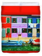 Burano Anisland Of Multi Colored Homes On Canals North Of Venice Italy Duvet Cover