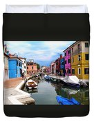 Burano Canal And Homes Duvet Cover