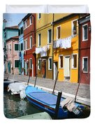 Burano Corner With Laundry Duvet Cover