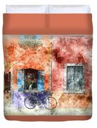 Burano Italy Digital Watercolor On Photograph Duvet Cover