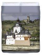 Burg Pfalzgrafenstein And Burg Gutenfals Squared Duvet Cover