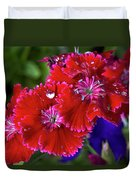 Burgandy Red Dianthus Duvet Cover