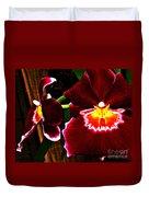 Burgundy Orchids Duvet Cover