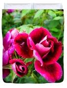 Burgundy Rose And Rose Bud Duvet Cover