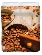 Burlap Bag Of Coffee Beans And Drawer Duvet Cover