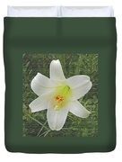 Burlap Textured Easter Lily Duvet Cover