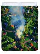 Burnin Down The House Aerial Single Family Home On Fire  Duvet Cover