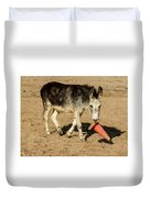 Burro Playing With Safety Cone Duvet Cover