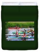 Burton Canoe Race At The Start Duvet Cover