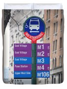 Bus Stop Sign In New York City Duvet Cover