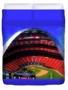 Busch Stadium A Zoomed View From The Arch Merged Image Duvet Cover